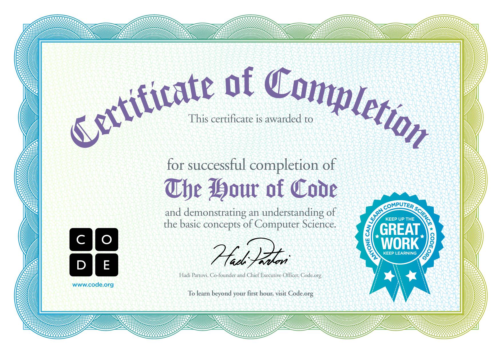 code hour kidz certificate coding